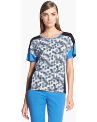 St. John Yellow Label Stamped Crosshatch Print Jersey Top - Lyst
