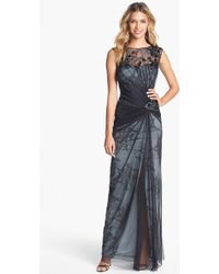 Tadashi Shoji Embellished Tulle Lace Gown - Lyst