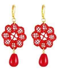Tita' Bijoux Daisy Red Lace Earrings - Lyst