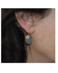 Toosis Grey Petite Oval Labradorite Earrings - Lyst