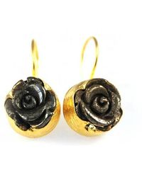 Toosis Golden Rose Earrings - Lyst