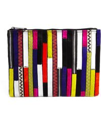 Asos Leather Zip Top Clutch Bag with Patchwork Faux Pony - Lyst