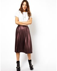 Asos Coated Midi Skirt with Pleats - Lyst