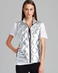 DKNY Quilted Front Puffer Vest - Lyst