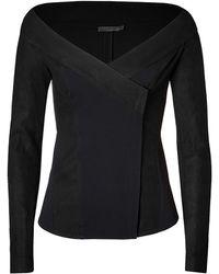 Donna Karan New York Leather Trimmed Jacket In Black - Lyst