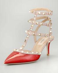 Valentino Rockstud Patent Leather Sandal - Lyst