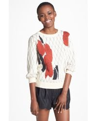 Leith Floral Sweater - Lyst