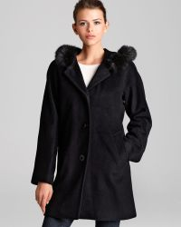 Ellen Tracy - Coat Fox Fur Trimmed Hood - Lyst