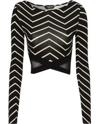 Jane Norman Chevron Mesh Crop Top - Lyst