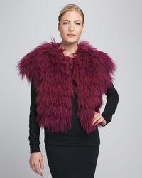 Jocelyn Tibetan Lamb Fur Vest Magenta - Lyst