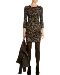 Karen Millen Brocade Jacquard Knit Dress - Lyst