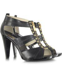 Michael Kors Linden Berkley T-strap Black Leather Sandal