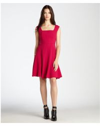 Ivy & Blu Acai Crepe Square Neck Cap Sleeve Fit And Flare Dress - Lyst