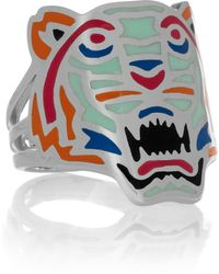 KENZO - Tiger Enamelled Silver Ring - Lyst