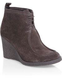 Mascotte - Crepe Wedge Lace Up Shoe Boots - Lyst
