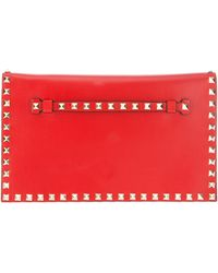 Valentino Studded Leather Clutch red - Lyst