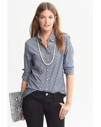 Banana Republic Softwash Dot Chambray Buttondown Shirt - Lyst