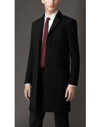 Burberry Velvet Detail Wool Cashmere Coat - Lyst