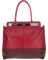 Valentino Large Calf Leather Tote red - Lyst