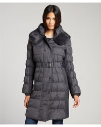 Via Spiga Steel Quilted Pillow Collar Fur Trimmed Puffer Coat - Lyst
