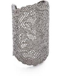 Aurelie Bidermann Vintage Lace Cuff - Black Silver - Lyst