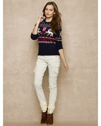 Ralph Lauren Blue Label Intarsia Knit Reindeer Sweater - Lyst