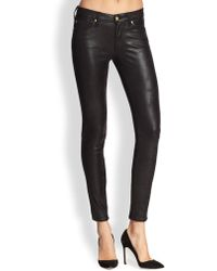7 For All Mankind Crackle Leather-Like Skinny Jeans - Lyst