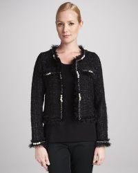 Michael Simon Glam Tweed Jacket with Faux Pearls - Lyst