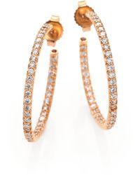 Roberto Coin Diamond & 18K Rose Gold Inside-Outside Hoop Earrings/1 - Lyst