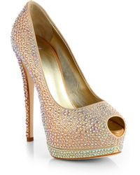 Giuseppe Zanotti Jeweled Satin Platform Pumps - Lyst
