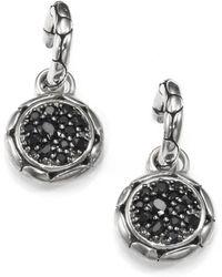 John Hardy | Kali Black Sapphire & Sterling Silver Small Hoop Drop Earrings | Lyst