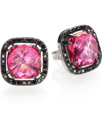 KALAN by Suzanne Kalan - Pink Topaz, Black Diamond & 14k White Gold Cushion Stud Earrings - Lyst