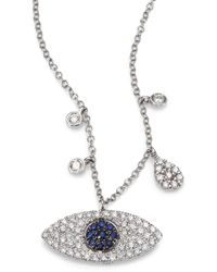 Meira T Diamond & 14K White Gold Eye Eye Pendant Necklace - Lyst