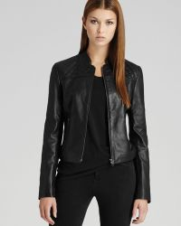 Reiss - Leather Jacket Ammi Quilted - Lyst