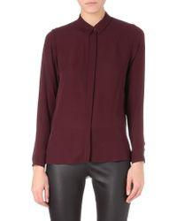 Theory Driya Sidezip Silk Shirt - Lyst