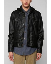 Urban Outfitters Loser Machine Lawson Vegan Leather Hooded Jacket - Lyst