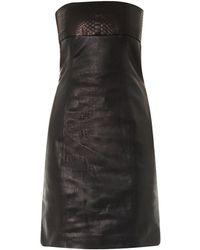 Saint Laurent Strapless Leather and Python Dress - Lyst