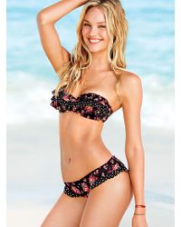 Victoria's Secret Ruffle Cheeky Hipkini Bottom Ruffle Pushup Bandeau Top - Lyst