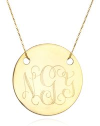 Ginette NY Large Disc Monogram Necklace, Gold - Lyst
