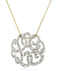 Ginette NY Mini Diamond Lace Monogram Necklace - Lyst