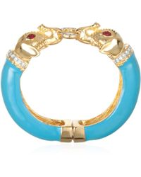 Kenneth Jay Lane Turquoise Enamel Elephant Bracelet - Lyst