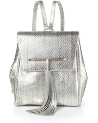 B Brian Atwood - Juliette Metallic Snakeembossed Leather Small Backpack - Lyst