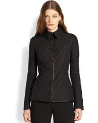 Burberry London Leather-Detail Quilted Jacket - Lyst