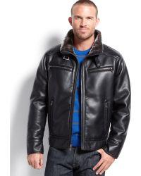 Calvin Klein Faux Leather Faux Shearlinglined Moto Jacket - Lyst
