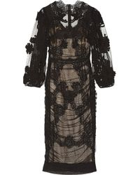Dolce & Gabbana Ruched Lace and Tulle Dress - Lyst