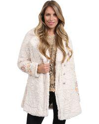 Free People Faux Fur Embellished Coat - Lyst