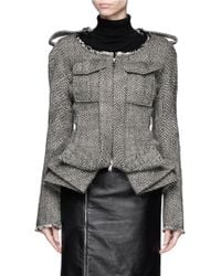 Haider Ackermann Layered Peplum Hem Herringbone Jacket - Lyst