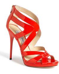 Jimmy Choo Collar Caged Platform Sandal red - Lyst