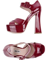 Miu Miu Block High-Heel Buckle Strap Platform Sandals - Lyst