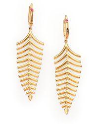 Roberto Coin 18K Yellow Gold Fishbone Drop Earrings - Lyst